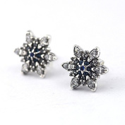 DIY fits European Pandora Jewellery 925 Sterling Silver Crystalized Snowflake with Blue Crystals & Cubic Zirconia