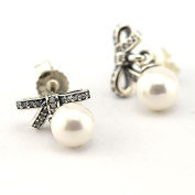 DIY fits European Pandora Jewellery 925 Sterling Silver Delicate Sentiments with White Pearl & Clear cubic zirconia