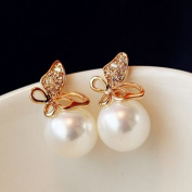 New Fashion Jewellery Women Crystal Gold Butterfly Pearl Ear Stud Earrings Gift
