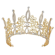 Stuffwholesale Royal Gold Hollow Flower Tiara Crowns Wedding Bridal Party Hair Accessories with Bobby Pins