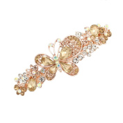GSM Accessories Womens Rhinestone Butterfly Large Size Alloy Hair Clips Barrettes HC199-Coffee