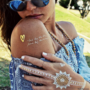 Flash Tattoos Wanderlust Authentic Metallic Temporary Tattoos 3sheet Pack (Gold/silver/white) - Includes Over 28 Premium Waterproof Tattoos