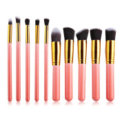 PrettyGal 10pcs Makeup Brush Set Cosmetics Foundation Blending Blush Eyeliner Face Powder Brush Makeup Brush Kit