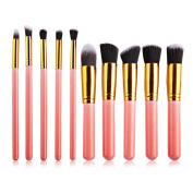 PrettyGal 10pcs Makeup Brush Set Cosmetics Foundation Blending Blush Eyeliner Face Powder Brush Makeup Brush Kit