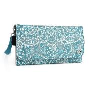 Fashion wallet case (Bohemian Blue) multi purpose organiser ( ID holder, coin purse, phone pocket) fits