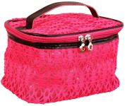 AimTrend Beautiful Lace Train Case Cosmetic Bag - Pink