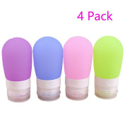 Magik Squeezable & Refillable Silicone Travel Carry-on Bottles Containers 2.7 Oz / 80 Ml