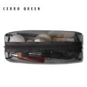 CERROQREEN Black Mesh Makeup Bag travel cases Organiser