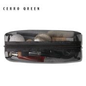 CERROQREEN Black Mesh Makeup Bag travel cases Organiser
