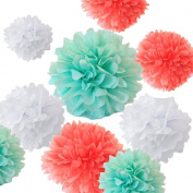 Sorive® Pack of 12pcs Mixed Sizes 20cm 25cm 30cm 36cm Premium Tissue Paper Pom-poms Flower Ball Wedding Party Outdoor Decoration - Coral, Mint Green & White