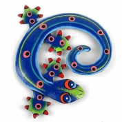 Caribbean Craft Hand Painted Round Metal Gecko Blue Green Design