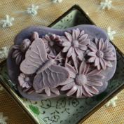 Grainrain DIY Handmade soap moulds Craft Art Silicone Soap moulds Butterfly and Chrysanthemum Soap Making Mould