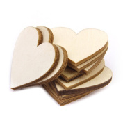 WINOMO 50pcs 30mm Wood Blank Heart for DIY Crafts Embellishments