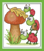 Good Value Cross Stitch Kits Beginners Kids Advanced -Mushroom And The Tortoises 11 CT 20cm x 23cm , DIY Handmade Needlework Set Cross-Stitching Accurate Stamped Patterns Embroidery Home Decoration