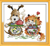 Good Value Cross Stitch Kits Beginners Kids Advanced -Little Chef 11 CT 20cm x 20cm , DIY Handmade Needlework Set Cross-Stitching Accurate Stamped Patterns Embroidery Home Decoration Frameless