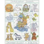 Noahs Ark Sampler Birth Record Counted Cross Stitch Kit-28cm x 36cm 14 Count
