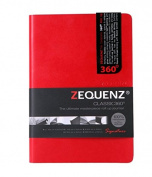 Zequenz Classic 360 Soft Bound Journal/ Writing Notebook Red Medium 13cm x 18cm 200 sheets/400 pages Ruled/Lined paper