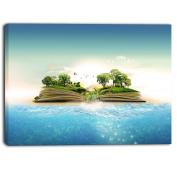 """Designart PT6623-80cm - 41cm Magical Book About Nature Contemporary"""" Canvas Art Print, Blue, 80cm x 41cm"""