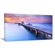 """Designart PT6457-80cm - 41cm Blue Wooden bridge Seascape Photography"""" Canvas Art, Blue, 80cm x 41cm"""
