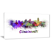 "Designart PT6583-80cm - 41cm Cincinnati Skyline Cityscape"" Canvas Artwork Print, Purple, 80cm x 41cm"