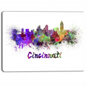 "Designart PT6583-100cm - 80cm Cincinnati Skyline Cityscape"" Canvas Artwork Print, Purple, 100cm x 80cm"