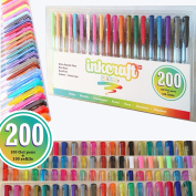 200 Piece Gel Pen Set - 100 Pens PLUS 100 Refills - Ideal for Adult Colouring Books and Kids Projects - Premium Quality Pens-Glitter, Metallic, Fluorescent, Pastel, Neon, Rainbow, Standard Colours