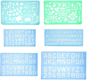 Set of 2 Artistic Drafting Templates and 4 Lettering Stencil By Yosogo