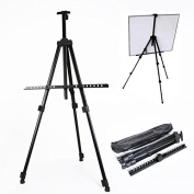 TopYart Lightweight Portable Adjustable Mental 160cm tall Painting Easel Tripod Holder Stand with Carrying Bag