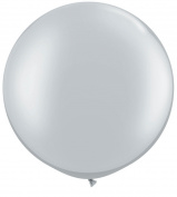 Silver Metallic 90cm Latex Balloon