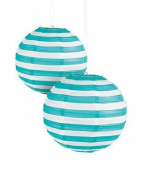 Turquoise Striped Paper Lantern - 30cm - Set of 2