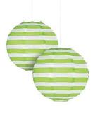 Lime Green Striped Paper Lantern - 30cm - Set of 2