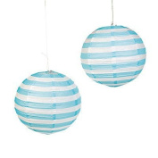 Light Blue Striped Paper Lantern - 30cm - Set of 2