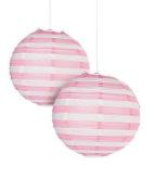 Light Pink Striped Paper Lantern - 30cm - Set of 2