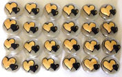 Jazzy Glass Gems, Hand Painted Set of 24, Party Supplies, Party Favour, Decoration, Gold & Black Double Hearts