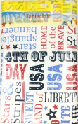 Flannel Backed Vinyl Tablecloth, 4th of July Red White Blue