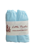 2 pack Baby Pram/Bassinet/Moses Basket Oval Jersey Fitted Sheet 100% Cotton Blue 3.7mx9.1m
