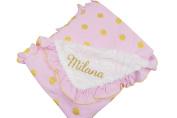 PoshPeanut® Soft Minky Ruffled Edge Baby Kids Blanket Throw Pink