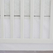 130cm x 70cm , Cotton Panels Crib Skirt in Dove Grey Stripes