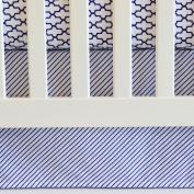 130cm x 70cm , Cotton Panels Crib Skirt in Navy Stripes