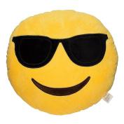 Emoji Smiley Emoticon Yellow Round Plush Pillow, Shades