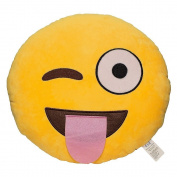 Emoji Smiley Emoticon Yellow Round Plush Pillow, Tongue