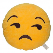 Emoji Smiley Emoticon Yellow Round Plush Pillow, Flouting