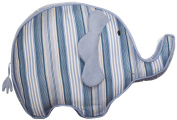 Endearing Elephant Shaped Decorative Throw Pillow in Blue/White