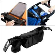 Hiltow Stroller Organiser - Stroller Accessory, Universal Cup Holder & Handle Bag(Black)