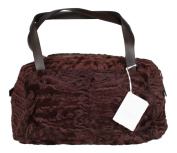 Brunello Cucinelli Medium Maroon Shearling Bag Purse Leather Handles