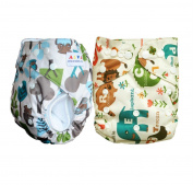 2 Alva Baby Washable Reusable One Size Pocket Cloth Nappy+ 2Insert Hot Patterns