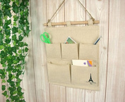 Pishmount Fabric Wall Door Closet Hanging Storage Bag Small Cotton Hanging 5 Pockets