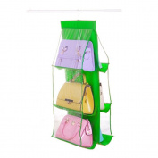 Foreveryang 6 Pocket Transparent Shelf Hanging Handbag Bag Purse Tidy Organiser Green