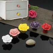 WICOO 10pcs Vintage Rose Flower Ceramic Knob Cabinet Drawer Kitchen Cupboard Pull Handle