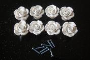 WICOO 8Pcs/Set White Vintage Rose Flower Ceramic Door Knob Cabinet Drawer Kitchen Cupboard Pull Handle